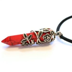 Jewelry - Red Turquoise Dagger Wrapped in Flowers Necklace